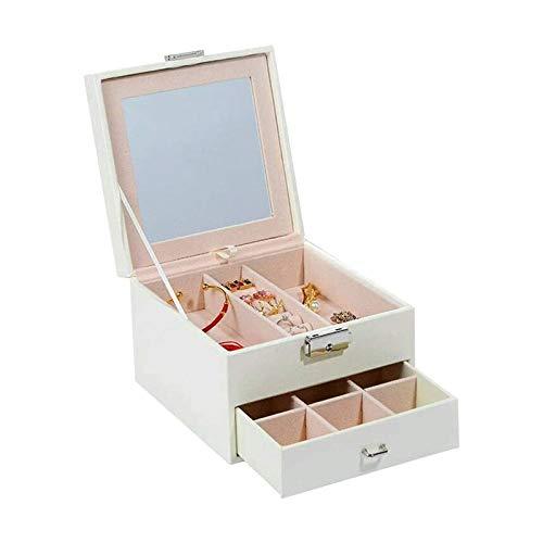 WHZG Caja joyero Organizador de joyería de 2 Capas con Bandeja extraíble, Caja de joyería, Regalo para Seres Queridos, Blanco Organizador Joyas