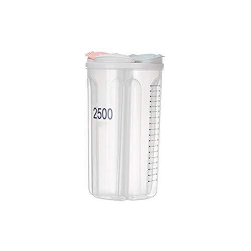 Caja de Almacenamiento de plástico Caja de Almacenamiento de Alimentos con Tapa separada Escala Transparente Controle el Stock de Alimentos en Cualquier Momento Aplique al té de Granos(Size:2500ml)