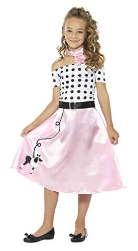 Smiffys-24668L Disfraz Falda Vuelo años 50, con Vestido, Gargantilla y cinturón, Color Rosado, L-Edad 10-12 (Smiffy'S 24668L)