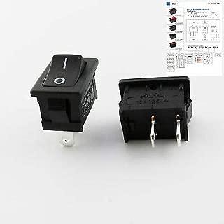 FidgetKute Black RLEIL Rocker Switch On/Off 2 Pin 2 Position DPST 10A/6A 125V/250V AC RL3