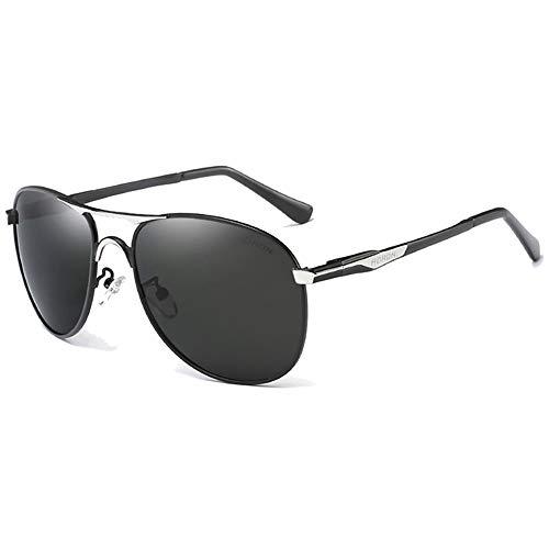 WHSS Color Film Metal Material Trend Wild Gafas de sol negro/azul/plateado Gafas de sol de conducción para hombre (Color: Negro)
