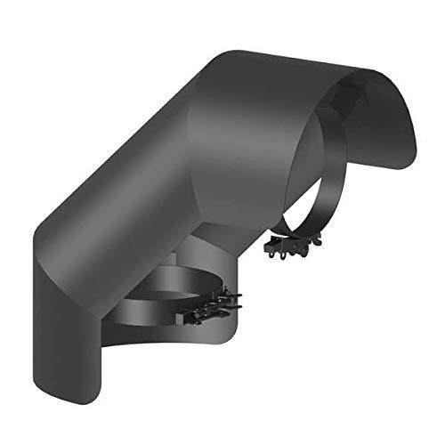 Ø 150mm Ofenrohr Strahlungsschutz Bogen 90° stehend schwarz - 2 mm Stahlblech - Senotherm-Beschichtung - für den Sichtbereich geeignet. - Hitzeschutzblech - Ofenrohrschutzblech