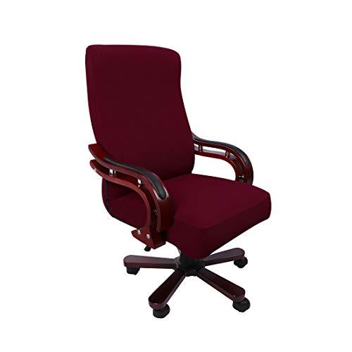 PiccoCasa Computerstuhl Schreibtischstuhl Bezug Jacquard Streifen, Hoher Rückenlehne Bezug für Universellen Drehbaren Boss-Stuhl, Dehnbarer wasserdichte Bürostuhl Bezug Burgund Größe L