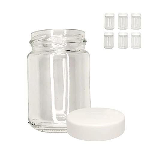 XILMARK Vasos yogurt con Tapa Rosca Plástico twist off de 156 mililitros, vasos yogurtera, Tarro de cristal para potitos bebé, Bote recipiente para natillas, Frasco conservas vacío (Pack 6 Unidades)