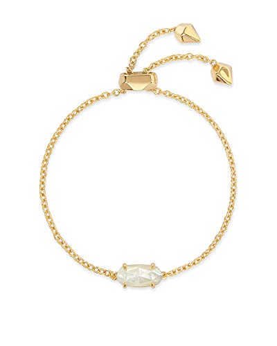 Kendra Scott Everlyne Link Chain Bracelet for Women, Fashion Jewelry, 14k Gold Plated, Ivory Mother of Pearl