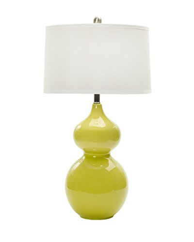 "Fangio Lighting W-MR7790CHIC LIME 28"" Ceramic Table Lamp, Chic Lime & Brushed Steel Accents"
