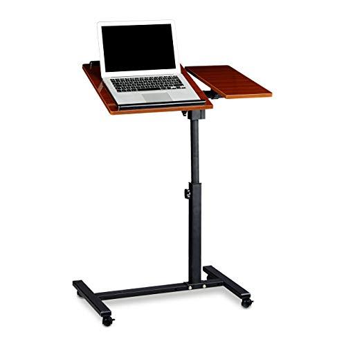 Relaxdays Laptoptisch höhenverstellbar HBT 95 x 60 x 40 cm Notebook Ständer auch für Linkshänder Sofatisch Beistelltisch mit bremsbaren Rollen mit Ablage für Maus mit 2 Stopp-Leisten, Mahagoni, rot
