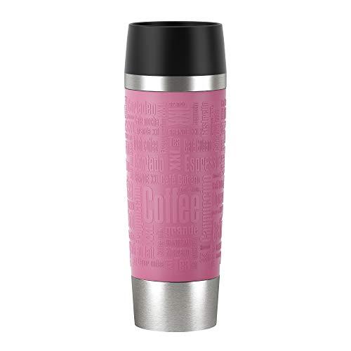 Emsa N2013200 Travel Mug Thermo-/Isolierbecher aus Edelstahl | 0,5 Liter | 6h heiß | 12h kalt | BPA-Frei | 100% dicht | auslaufsicher | spülmaschinengeeignet | 360°-Trinköffnung | Cassis Rot