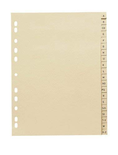 10 Stück Buchstaben - Register A-Z / Vollformat DIN A4 / Papier 110 g/m² / 20-teilig