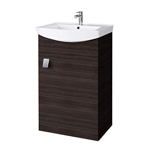 Planetmöbel Waschbecken mit Waschbeckenunterschrank/Waschtisch-Unterschrank 45cm Gäste Bad WC (Wenge)