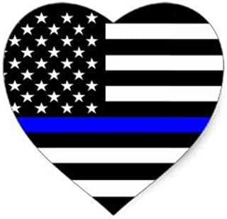 Heart thin blue line 4x4 inches flag honoring our men & women of law enforcement and Fire Fighters USA america Flag symbol sticker decal die cut vinyl - Made and Shipped in USA