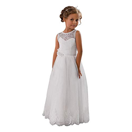 CDE Vintage Lang Kinder Tüllkleid Spitzenkleid mit Gürtel/Chic A-Linie Kommunionkleider Brautjungfern Kleider Blumenmädchenkleider für Mädchen 2-12 Jahr (Weiß, Größe 4)