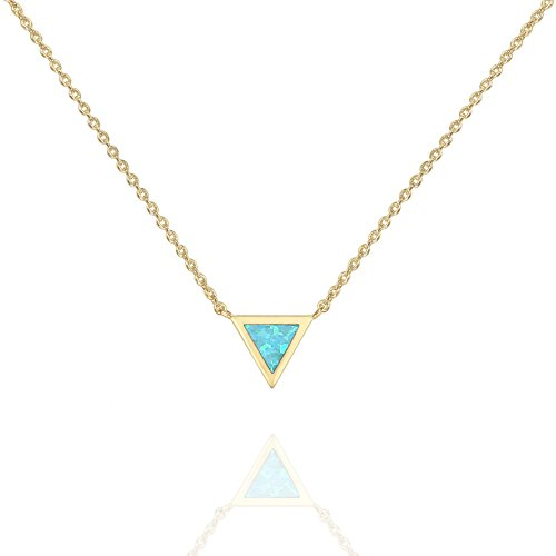 PAVOI 14K Yellow Gold Plated Triangle Created Green Opal Necklace   Opal Necklaces for Women