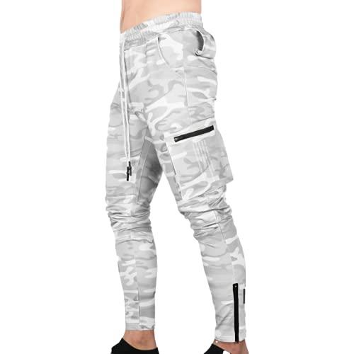 Huntrly Pantalones de chándal para Hombre, Primavera y otoño, con cordón, Cintura elástica, Bolsillo con Cremallera, Pantalones Casuales, Pantalones Ajustados a la Moda M