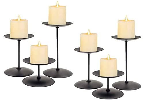6 PZ Camino Candela Candelabra Nero Metallo Candela di Natale Portacandele Candela Decorazioni for Il Mantello for Il Display da Tavolo Party di Nozze