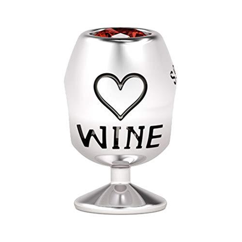 GNOCE Sterling Silber Glühwein Weinglas Charm mit Wein Eingraviert Tanne Fit alle Armband/Halskette Geschenk für den Weinliebhaber und Männer
