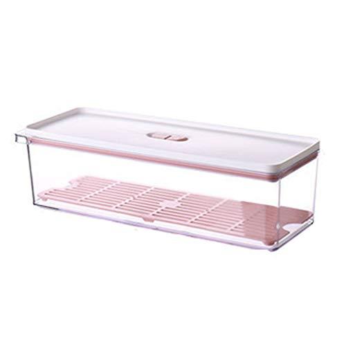 GODLOVEWORLD Contenedores de Almacenamiento para frigorífico, Caja organizadora de Almacenamiento de Armario de Cocina con Tapas y Platos de Drenaje extraíbles (2 Piezas)