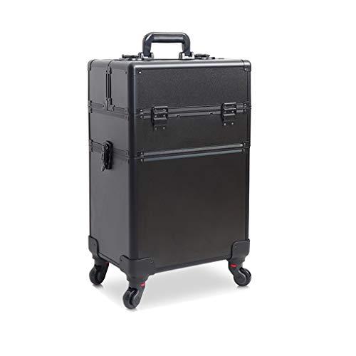 AOHMG 2 en 1 Maquillage Valise Trolley, Maquilleur Aluminium Portable Valise De Maquillage Professionnel, avec verrouillables Clés / 4 Amovible Roues,Black