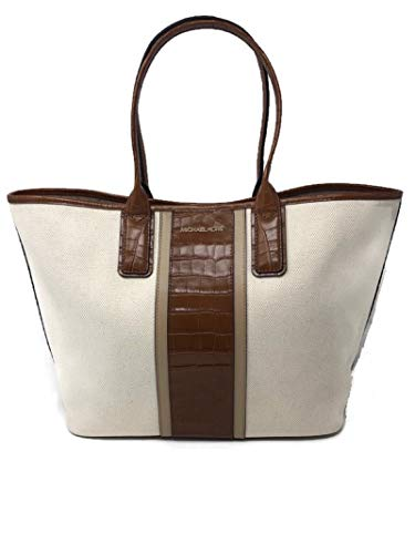 """Michael Kors Greenwich Large EW Tote Crocodile Print Embossed LT CRM Multi approx measurements: 18"""" across the top _ 14"""" across the base in front 12"""" tall, handles 8"""" tall, 6.5"""" wide Interior is nylon. 3 interior functions: 1 large zipper pocket, 2 p..."""