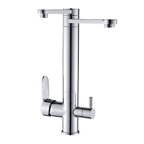JRUIA Rubinetto da cucina cromato a 3 vie, per filtro dell'acqua, girevole a 360°, rubinetto da cucina a 2 leve, miscelatore per lavello 3 in 1, rubinetto per acqua potabile in ottone