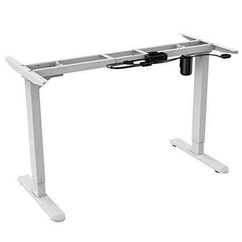 AIMEZO Elektryczna stojąca rama na biurko z regulacją wysokości tylko dwustopniowa z wytrzymałym stalowym biurkiem stojącym (biała)