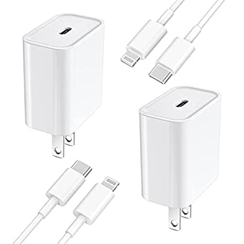 [Apple MFi Certified] iPhone Fast Charger Veetone 2 Pack 20W USB C Power Delivery Wall Charger Plug with 6FT Type C to Lightning Quick Charge Sync Cable for iPhone 12/11/XS/XR/X 8/SE/iPad/AirPods Pro