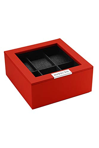 Invicta 6-Slot Stackable Watch Display Case with Lid (Red)