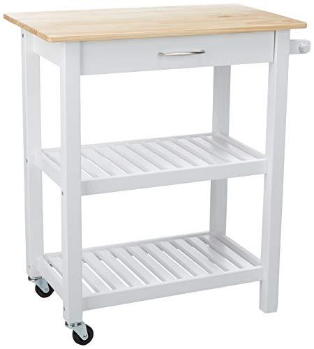 Amazon Basics - Carro de cocina multifunción con ruedas y estantes abiertos, natural y blanco