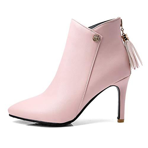 COZOCO Damen Quaste Hinten Reißverschluss Stiefeletten Elegante Spitze Zehe Dünne Ferse Kurze Stiefel Einfarbig wasserdichte Stiefel(Rosa,37 EU