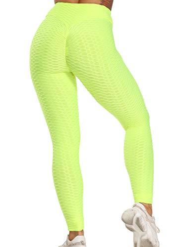 FITTOO Leggins Anti-Cellulite Sportivi Donna Pantaloni Tuta 3D Push up Yoga Pants Sexy Alta Elastico Fitness Ginnastica GP3000 Giallo S