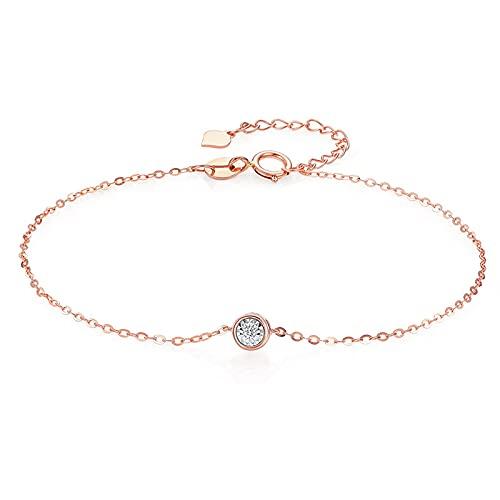 JIEZ Pulsera Personalizada de Oro Rosa de 18 Quilates con Diamantes para Mujer, Pulseras de Oro con Colgante para joyería de Mujer