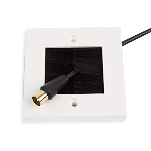 G-PLUG Brush Wall Plate, Decora Style, Cable Pass Through Insert for Wires, Single Gang Cable Access Strap, Standart UK White Wallplate with Black Brushes