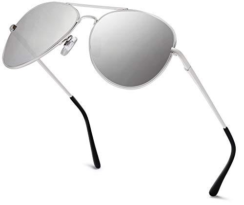 Hatstar Pilotenbrille Verspiegelt Fliegerbrille Sonnenbrille Brille mit Federscharnier (84 | Rahmen Silver - Glas Silver verspiegelt)