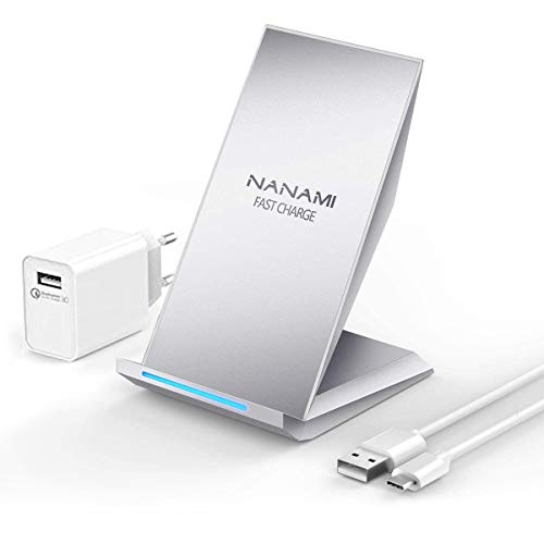 NANAMI Fast Wireless Charger, Qi Ladegerät (mit Quick Charge 3.0 Adapter)für iPhone 11/X/XS/XS Max/XR/8/8 Plus,10W Schnelles kabelloses Ladegerät Induktive Ladestation für Samsung Galaxy S20 S10 S9 S8