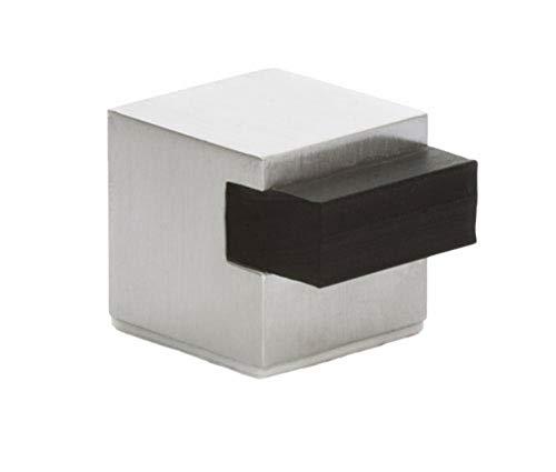 EVI Herrajes 04019720HAM Tope de puerta adhesivo (acero inoxidable), Negro, 20mm -Cuadrado