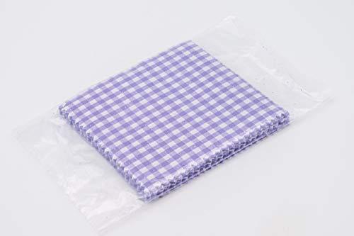 Flaschenbauer- 25x lila-weiß Karierte Textildeckchen mit Creme farbigen Schlaufen zum Befestigen der Deckchen. Dekoration für Einmachgläser und Einweckgläser. EIN Muss für DIY-Projekte und Geschenke.