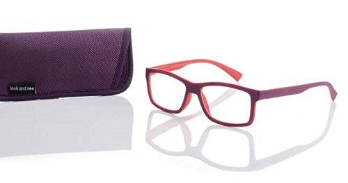 Designer leesbril +3,5 paars/rood unisex flexbeugel leeshulp merk