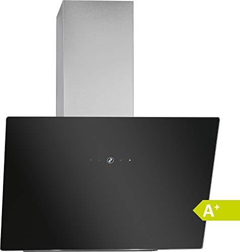 Bomann DU 7604 G kopffreie Vertikal-Dunstabzugshaube, 60 cm Breite, Touch Control, 9 Leistungsstufen, LED-Beleuchtung, 523 m³/h, schwarz-silber