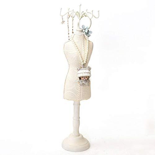 Joyero para Mujer Tenedor de la joyería de encaje de la vendimia de moda única y elegante de maniquí de maniquí de la pulsera de almacenamiento de almacenamiento colgando accesorio torre estante para
