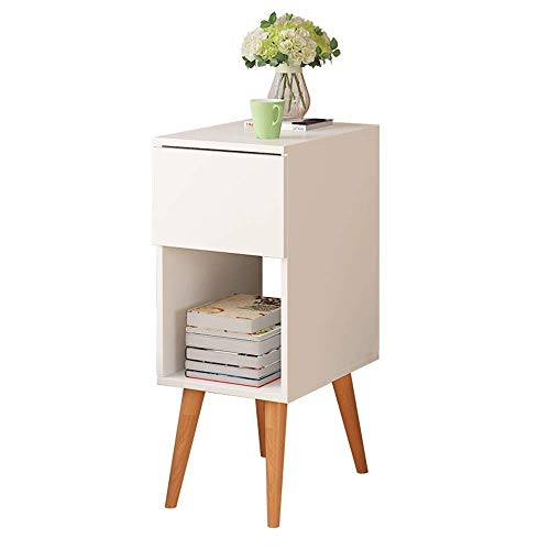 FTFTO Household Products Espresso Side End Table Open Storage with Drawer Bedside Table European Side Several Simple Small Apartment Storage Cabinet Corner Living Room Sofa Side Cabinet