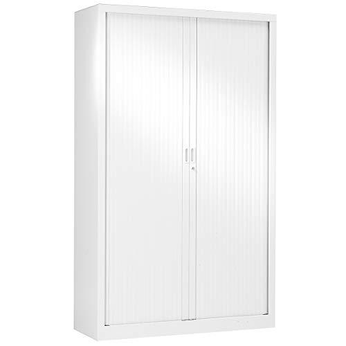 Pierre Henry Armoire à rideaux 198 x 120 x 43 cm - blanc - anti-feu - Armoire de bureau Armoire métallique Rangement de bureau