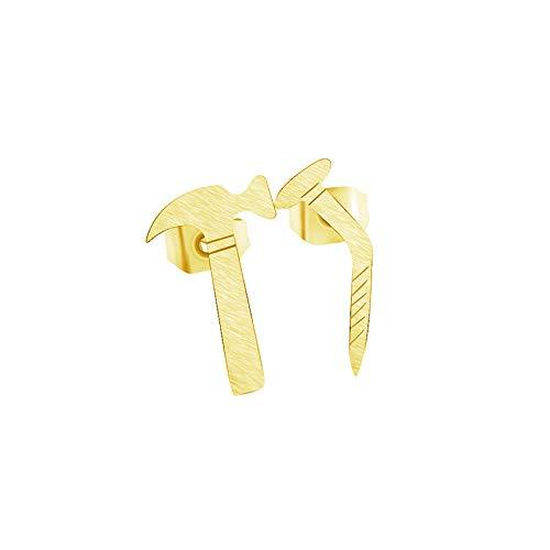 Pendientes asimétricos de martillo para uñas para hombres, joyería de acero inoxidable, herramientas mecánicas de color dorado, accesorios para mujeres Brincos-Gold-color_China