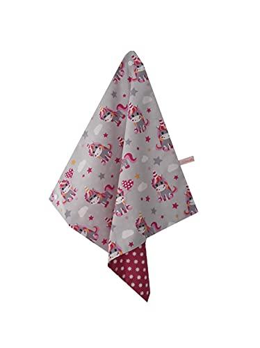 """Serviette de table enfant, avec attache pression; serviette"""" Licornes"""" doublée tissu coton"""