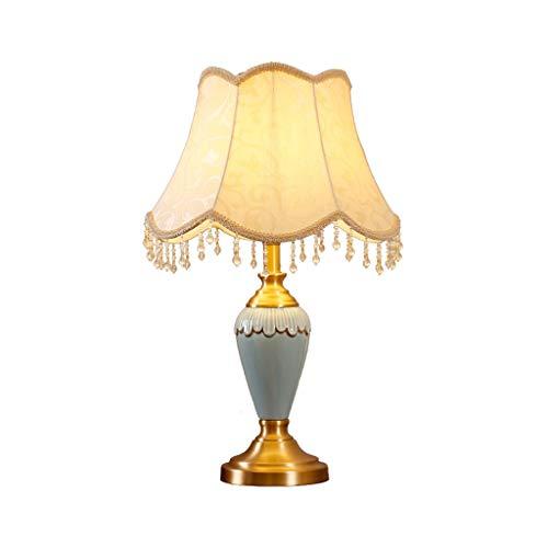 Tisch- & Nachttischlampen Europäische traditionelle keramische Tischlampe, weißer ovaler Lampenschirm mit Metallfuß Licht für Schlafzimmer (Color : Remote control switch)