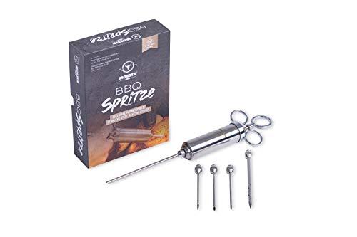Moesta-BBQ 10396 Spritze No.1 – Edelstahl Bratenspritze inklusive 5 Nadeln für alle Anwendungen - Edelstahl Marinadenspritze