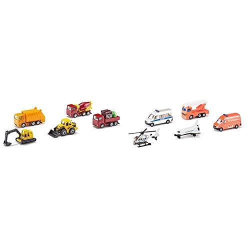 Siku 6283, Geschenkset 4, Baustellenfahrzeuge, 5-teilig, Metall/Kunststoff, Bewegliche Teile, Multicolor & 6282, Geschenkset 3 - Rettung und Weltall, Metall/Kunststoff, Multicolor