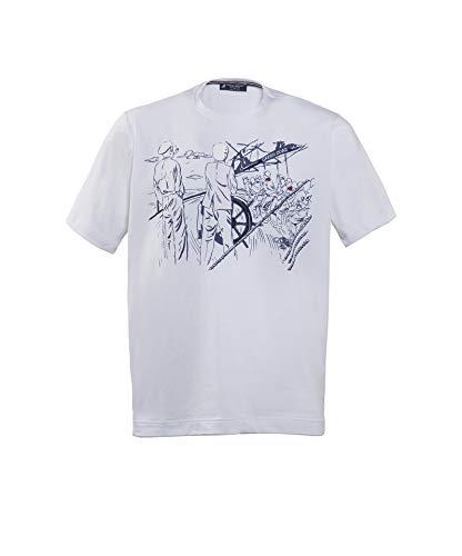 GREEN COAST 8416 - Camiseta de manga corta para hombre, tallas fuertes, fabricada en Italia blanco 6XL