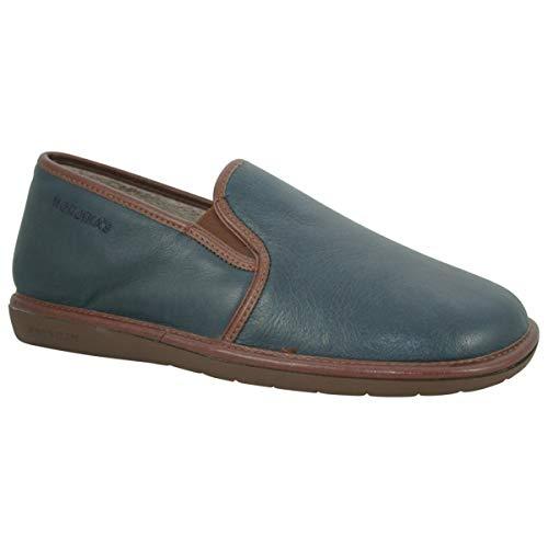 Nordikas - Zapatillas de estar por casa de cuero para hombre, color azul, talla 41.5