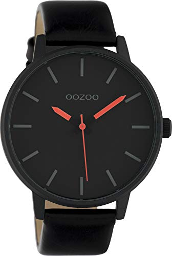 Oozoo Damenuhr mit Lederband 45 MM Schwarz/Orange C10384