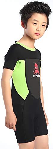 Cressi Unisex-Baby Smoby Shorty Wetsuit Neoprenanzug 2 mm für Kinder, Schwarz/Grüner Fluo, 8/9 Jahre